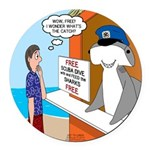 Free Shark SCUBA Dive Round Car Magnet