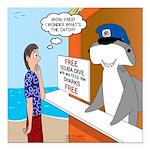 Free Shark SCUBA Dive Square Car Magnet 3