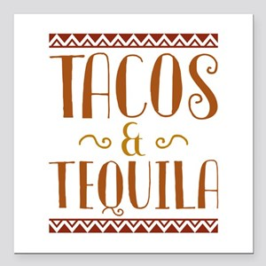 "Tacos And Tequila Square Car Magnet 3"" x 3"""