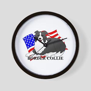 Border Collie USA Wall Clock