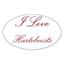 I Love Hartebeests Oval Sticker