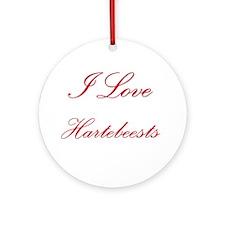 I Love Hartebeests Ornament (Round)