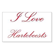 I Love Hartebeests Rectangle Sticker