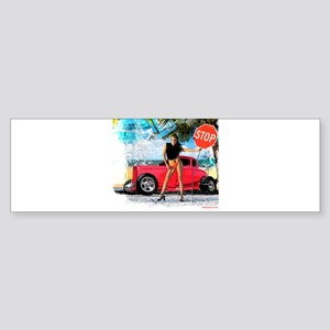 Hot Rod Girl Bumper Sticker