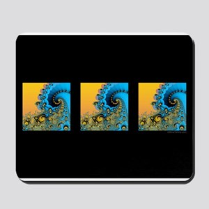 3 Waves Black: Mousepad