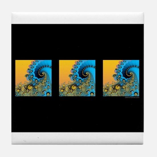 3 Waves Black: Tile Coaster