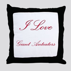 I Love Giant Anteaters Throw Pillow
