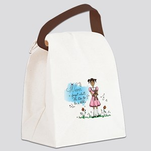 Little Girl in Pink Dress w/ Tedd Canvas Lunch Bag