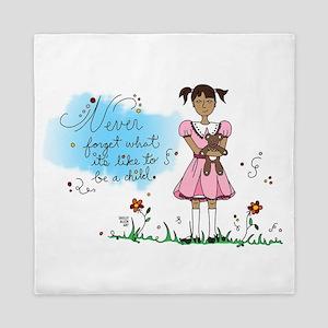 Little Girl in Pink Dress w/ Teddy Bea Queen Duvet