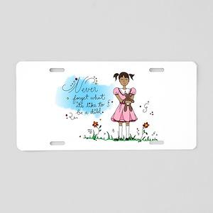 Little Girl in Pink Dress w Aluminum License Plate