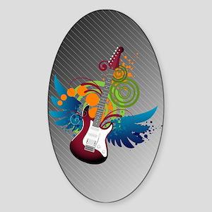 Guitar Fantasy Oval Sticker