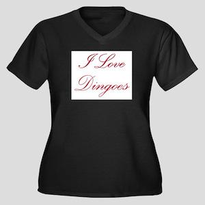 I Love Dingoes Women's Plus Size V-Neck Dark T-Shi