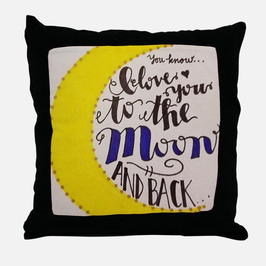 Cute Moon back Throw Pillow