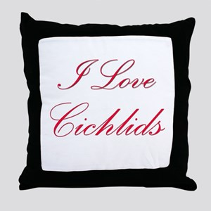 I Love Cichlids Throw Pillow