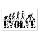 Bowling Bowler Evolution Rectangle Sticker