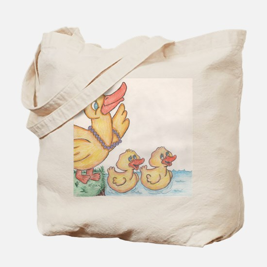 Mama Duck and Chicks Tote Bag