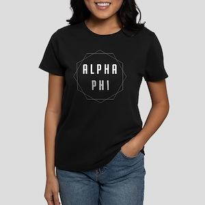 Alpha Phi Geometric Women's Dark T-Shirt