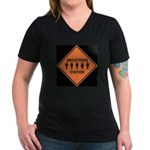 bricktown station Women's V-Neck Dark T-Shirt