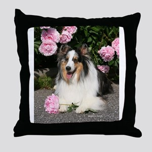 Happy Blue Merle Sheltie Throw Pillow