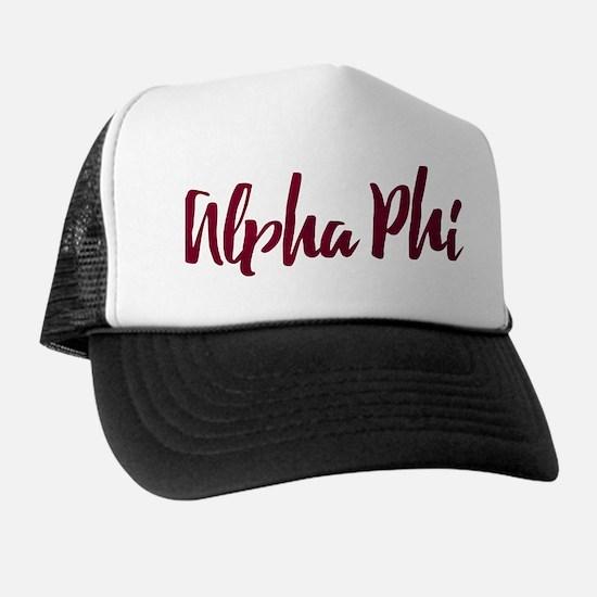 Alpha Phi Script Trucker Hat