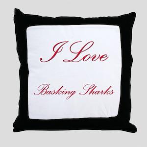 I Love Basking Sharks Throw Pillow