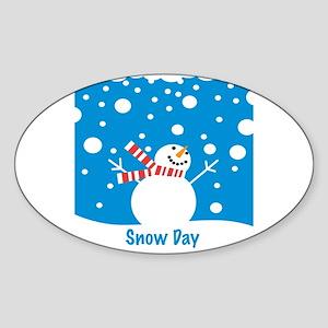 Snowman Snow Day Oval Sticker