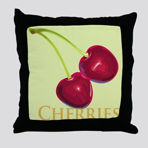 Cherries with Stems Throw Pillow