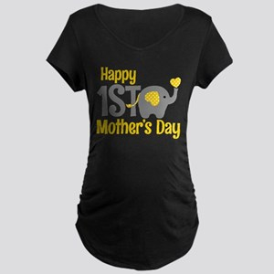 1st Mother's Day Elephant Yellow Maternity T-S