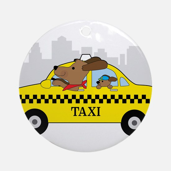 New York Taxi Dog Round Ornament