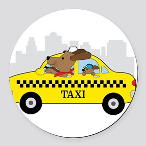 New York Taxi Dog Round Car Magnet