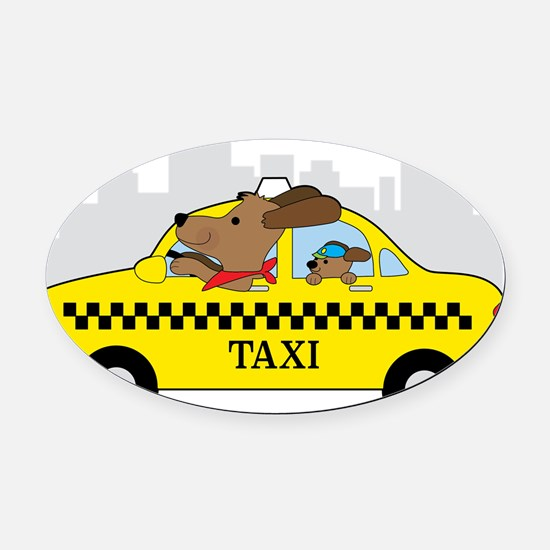 New York Taxi Dog Oval Car Magnet