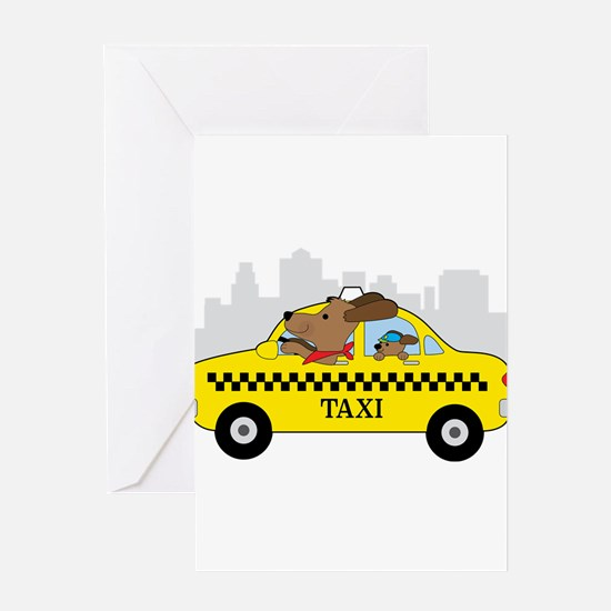 New York Taxi Dog Greeting Cards