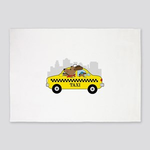 New York Taxi Dog 5'x7'Area Rug