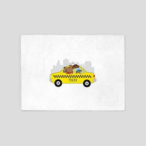 New York Taxi Dog 5'x7'Area Rug