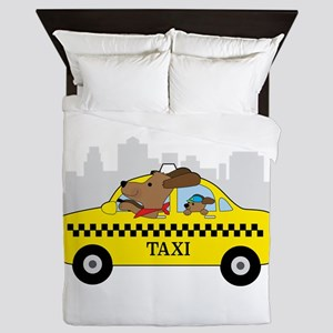 New York Taxi Dog Queen Duvet