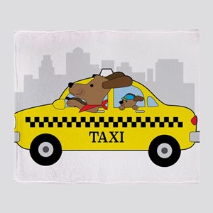 New York Taxi Dog Throw Blanket