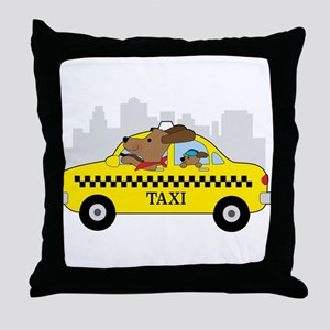 New York Taxi Dog Throw Pillow