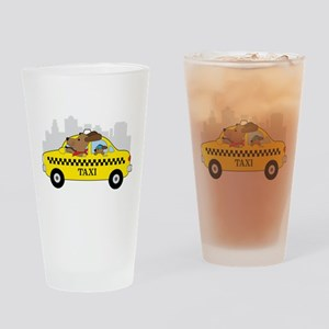 New York Taxi Dog Drinking Glass