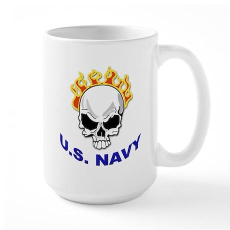 U.S. Navy Skull on Fire Large Mug