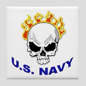 U.S. Navy Skull on Fire Tile Coaster