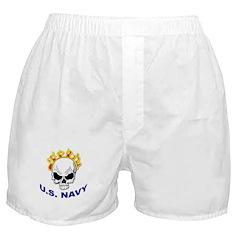U.S. Navy Skull on Fire Boxer Shorts