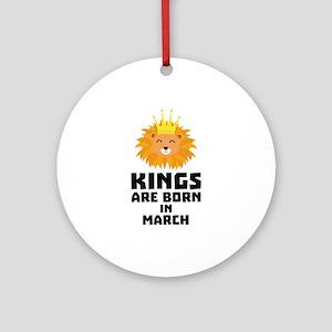 Kings are born in MARCH C3vec Round Ornament