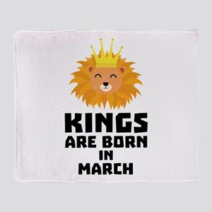 Kings are born in MARCH C3vec Throw Blanket