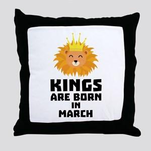Kings are born in MARCH C3vec Throw Pillow