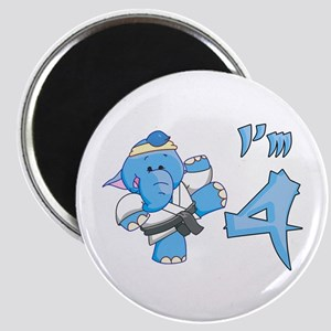 Elephant Karate 4th Birthday Magnet