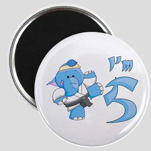 Elephant Karate 5th Birthday Magnet