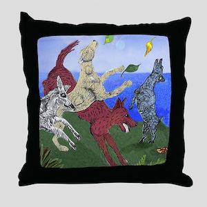 Throw Pillow dog art dancing dogs