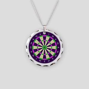 Purple Dart Board Necklace Circle Charm
