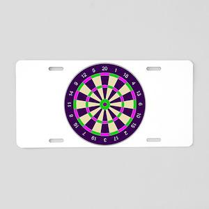 Purple Dart Board Aluminum License Plate