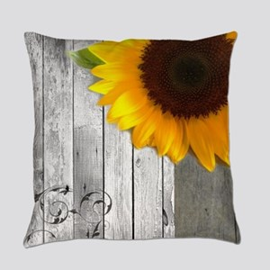 sunflower barnwood country Everyday Pillow